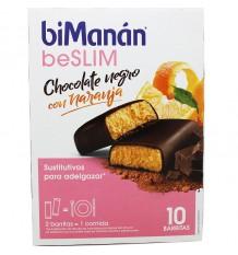 Bimanan Beslim Barritas Chocolate Negro con Naranja 10 unidades