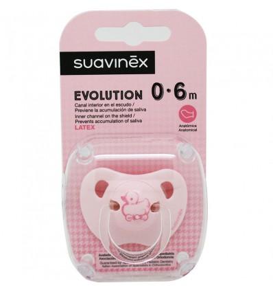 Suavinex Chupete Evolution Latex 0-6 meses Rosa Pato