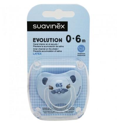 Suavinex Chupete Evolution Latex 0-6 meses Azul Coche Numero