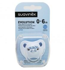 Suavinex Chupete Evolution Latex 0-6 meses Azul Coche Banderas