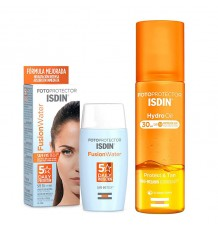 Isdin fusion Water Spf 50+ 50 ml+Hydro Oil Spf30 200 ml Pack