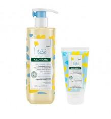 Klorane Bebé Gel de Limpeza Suave 500ml + Leite Hidratante 75ml