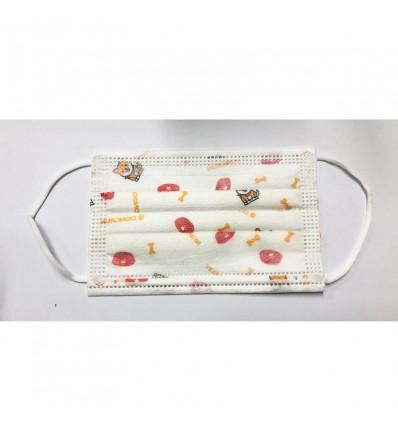 Mascarilla Higienica Infantil Blanca Perritos 10 Unidades