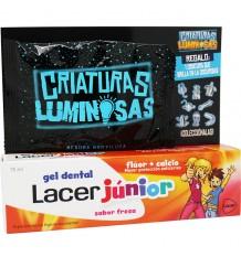 Lacer Júnior Gel Morango 75 ml Pack + Criaturas Luminosas