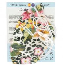 Deanshield Mascarilla Reutilizable Higienica Adulto Flores Manchas Negras