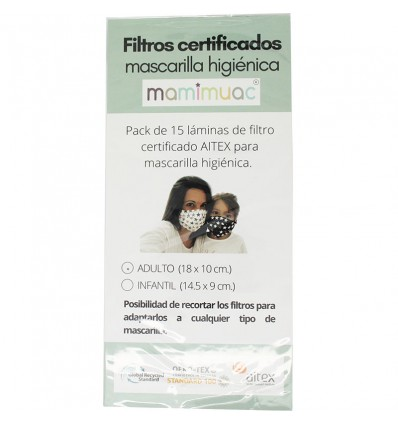 Mamimuac Filtro Mascarilla Higienica 15 Unidades Infantil 13.5x10cm