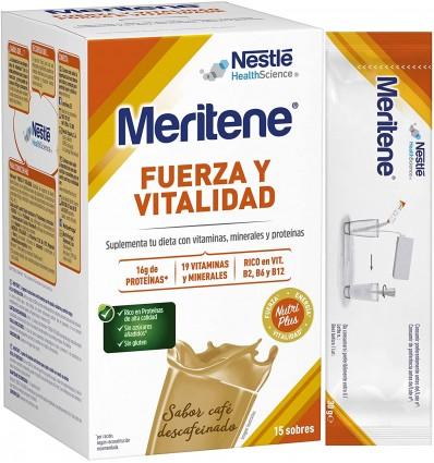 Meritene Cafe descafeinado 15 sobres caja y sobre