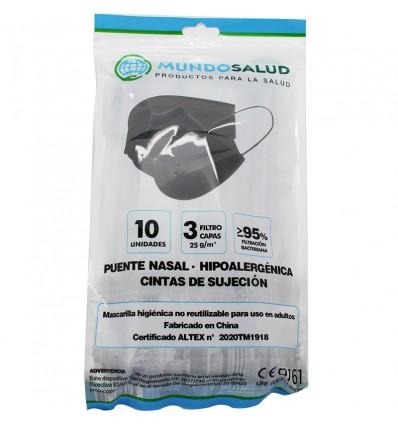 Mundosalud Masken Higienicas Grey Pack von 10 Einheiten