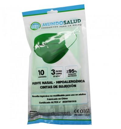 Mundosalud Masken Higienicas Green Pack von 10 Einheiten