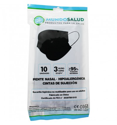 Mundosalud Masken Higienicas Schwarz Pack von 10 Einheiten