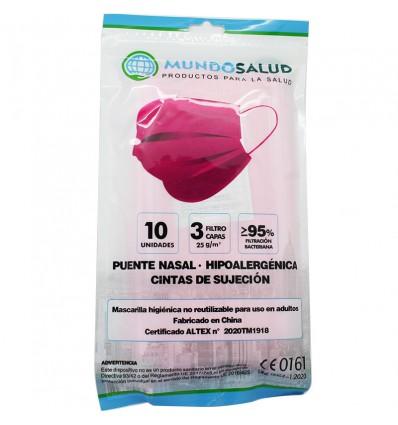 Mundosalud Mascarillas Higienicas Rosas Pack 10 unidades