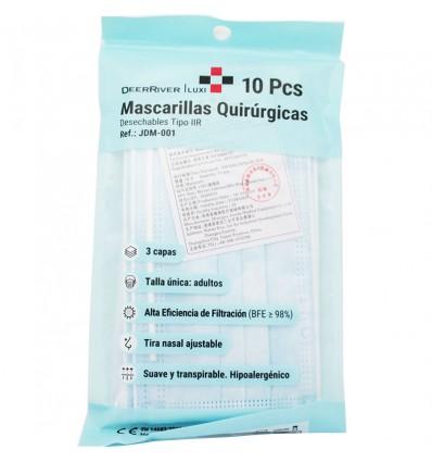 DeerRiver Mascarillas Quirurgicas Azul Triple Capa IIR Pack 10 unidades