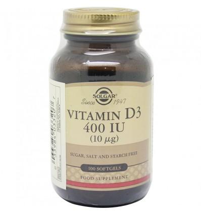 Solgar Vitamin D3 400 Iu 100 Capsules Soft