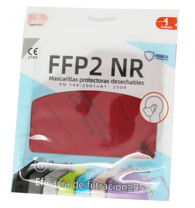 Masque FFP2 NR Promask Grenat Pack de 5 Unités