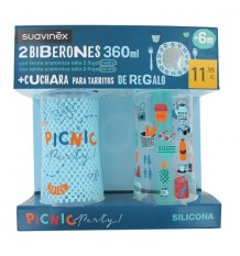 Suavinex Pack Biberones 360ml + Cuchara Tarritos azul