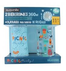Suavinex Pack Flasche 360ml + Löffel Tarritos blau
