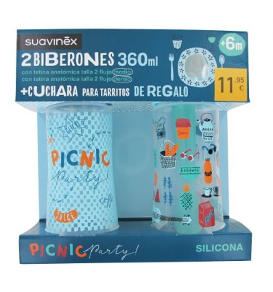 Suavinex Pack Biberões 360ml + Colher Tarritos azul