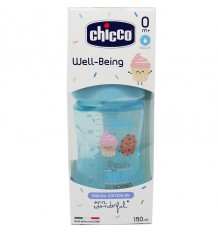 Chicco Flasche Silikon 150 ml Brustwarze Reguläre +0m blau mr wonderful