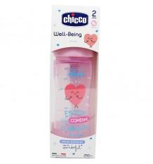 Chicco Biberon Silicone 250 ml Tétine Moyenne +2m rose merveille