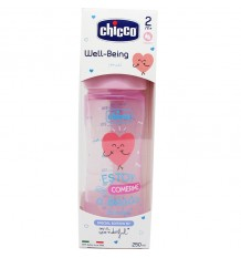 Chicco Biberon Silicona 250 ml Tetina Media +2m rosa wonder