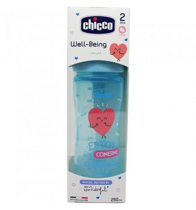 Chicco Biberon Silicona 250 ml Tetina Media +2m wonder azul