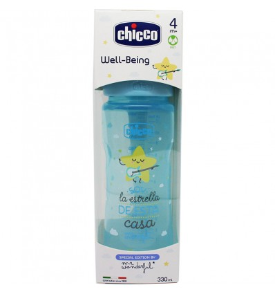 Chicco Biberon Silicona 330 ml Tetina +4m wonder azul