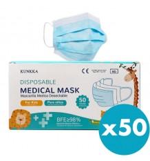 Máscaras Quirurgicas para Crianças 50 Unidades kunkka