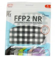 Masque FFP2 NR Promask Blanche à Carreaux Noirs, Pack De 5 Unités