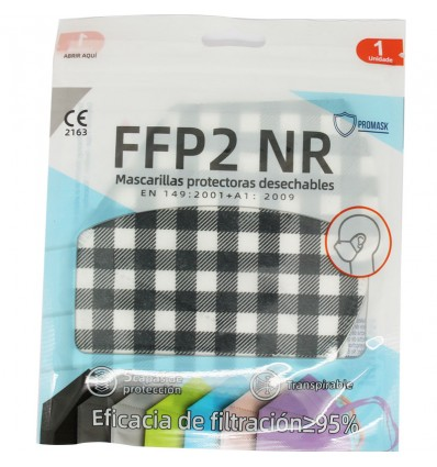 Mask FFP2 NR Promask White Checkered Black Pack Of 5 Units