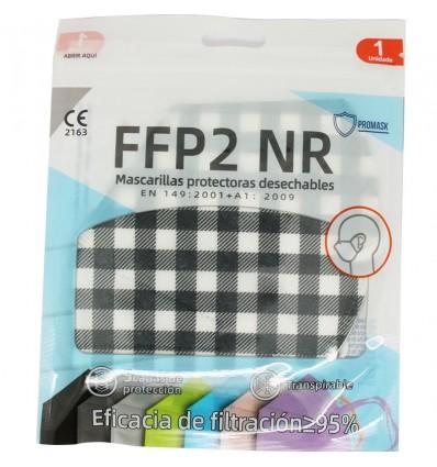 Maske FFP2 NR Promask White Checkered Black Pack Von 5 Einheiten