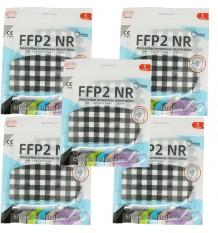 Mascarilla FFP2 NR Promask Cuadros Blancos Negros Pack 5 Unidades oferta