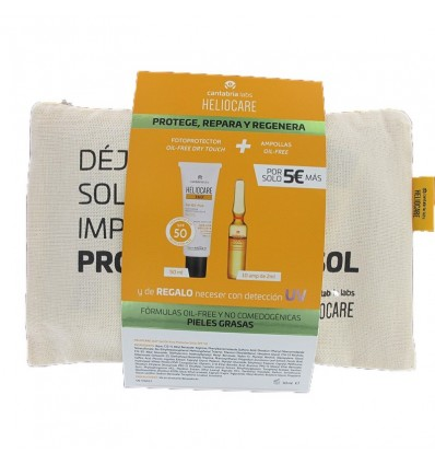 Heliocare 360 Gel Oil Free 50ml + Endocare Radiance Oil free 10 Ampolas + Bolsa