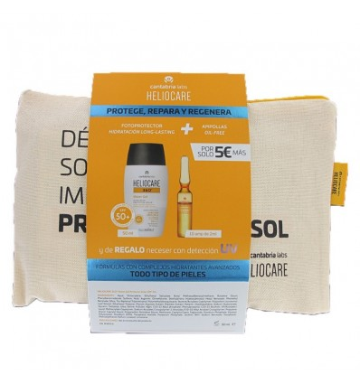 Heliocare 360 Water Gel 50ml + Endocare Radiance Oil free 10 Ampollas + Neceser