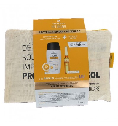 Heliocare 360 Mineral Fluid 50ml + Endocare Radiance Oil free 10 Ampollas + Neceser