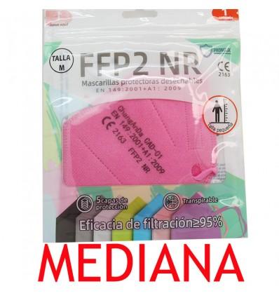 Mascarilla FFP2 NR Promask Rosa 1 Unidad Talla Mediana