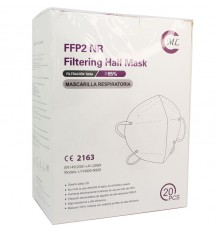 Maske FFP2 NR ML Schwarz Außen Innen Pack 20 Einheiten Komplette Box