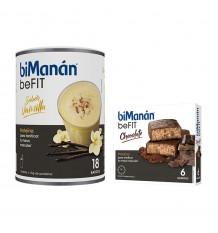 Bimanan Conviennent Shake à la Vanille 540 g 18 Smoothies + Barres Conviennent Chocolat 6 unités
