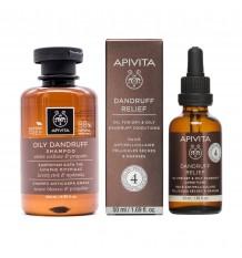 Apivita Öl Schuppen gegen Schuppen, Trockene und Fett 50 ml+ Shampoo gegen Schuppen Fett 200ml