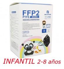 Máscara Ffp2 Nr 1MiStore Infantil Preta 20 Unidades Caixa Completa