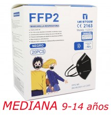Mascarilla Ffp2 Nr 1MiStore Mediana Negra 20 Unidades Caja Completa