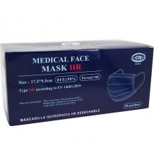 Masque Chirurgical IIR Bleu Foncé 50 Unités de la Boîte de Club Nautico