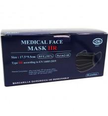 Maske Chirurgische IIR Schwarz 50 Stück Box Club Nautico