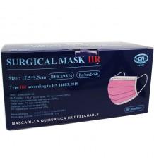 Máscara Quirurgica IIR Rosa 50 Unidades Caixa Clube Nautico