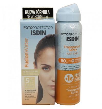 Fotoprotector Isdin 50 Fusion Water 50 ml + Trasparent Spray Spf50 100ml