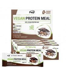 Barres Repas Végétaliennes Protéinées Chocolat Praliné Noisettes 12 Unités Pwd Nutrition