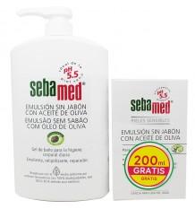 Sebamed Emulsion ohne Seife Olivenöl 1000 ml Geschenk-Emulsion 200 ml