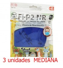 Máscara facial FFP2 NR Promask Azul escuro médio 3 Unidade