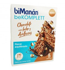 Bimanan Bekomplett Barrita Chocolate con Leche Avellanas 5 Unidades
