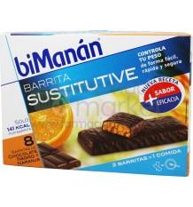 Bimanan Sustitutive Barritas Chocolate con Naranja 8 unidades