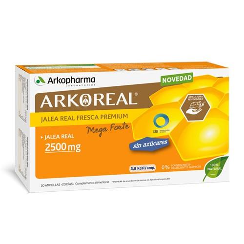 Arkoreal Jalea Real Mega Forte 2500 mg sin azúcar 20 Ampollas